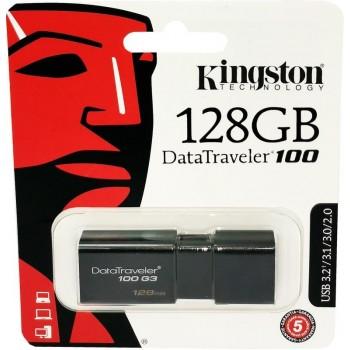 Memorie USB 3.2 / 3.1 / 3.0 / 2.0 Kingston, 128GB, DataTraveler, Black, capac retractabil