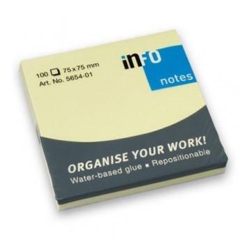 Notite adezive Info Notes 75 x 75 mm, galben, 100 file