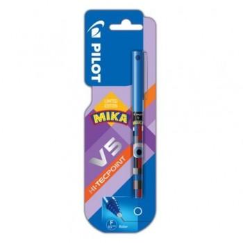 Roller Pilot V5 Hi-Tecpoint Mika, 0.5 mm, albastru, blister