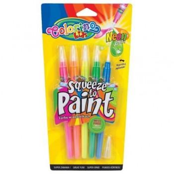 Tempera in tub cu pensula, 5 culori neon