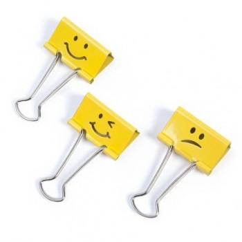 Clipsuri metalice Rapesco Emoji, 19 mm, galben, 20 bucati/set