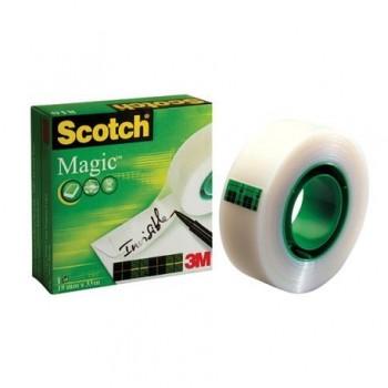Banda adeziva 3M Magic Tape Scotch, 19 mm x 33 m, invizibila