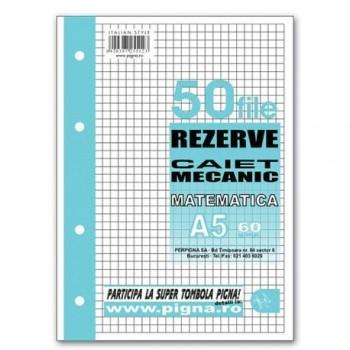Rezerva caiet mecanic Pigna A5 cu 4 inele, 50 file, matematica