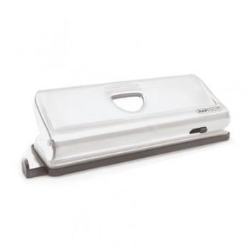 Perforator metalic Rapesco, cu 6 perforatii reglabile, 10 coli, alb