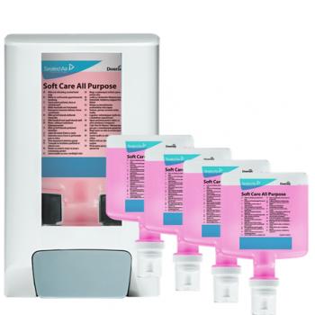 Pachet dispenser + 4x sapun spuma Soft Care All Purpose 1.3l