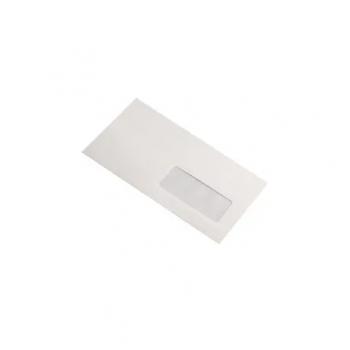 Plic DL, 110 x 220 mm, autoadeziv, cu fereastra dreapta, alb, 25 bucati/set