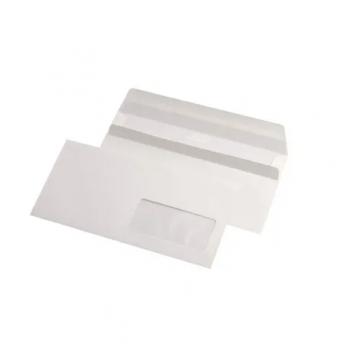 Plic DL, 110  x 220 mm, alb, siliconica, fereastra in dreapta, 25 bucati/set