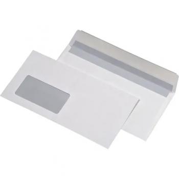 Plic DL, 110 x 220 mm, alb, siliconic, cu fereastra in stanga, 25 bucati/set