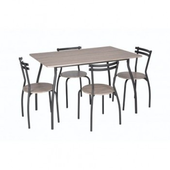 Set masa Vega + 4 scaune, MDF, stejar