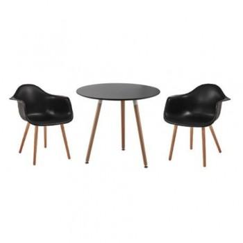 Set masa Iris + 2 scaune Shell, negru