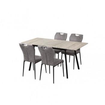 Set masa dining extensibila + 4 scaune, MDF, stejar alb