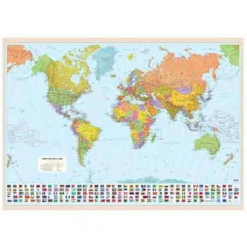 Harta politica a lumii, 120 x 160 cm, scara 1:20 mil
