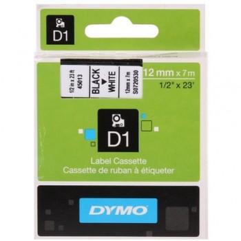 Banda Dymo D1, 12 mm x 7 m, negru/alb