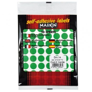 Etichete autoadezive rotunde, 14 mm, verde, 630 bucati/set