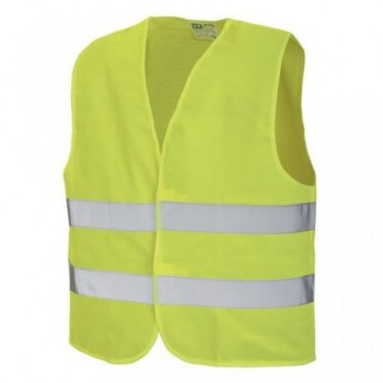 Vesta reflectorizanta cu tesatura din poliester, galben fluorescent