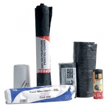Saci menajeri 60 l, 60 x 72 cm, HDPE, negru, 20 bucati/rola