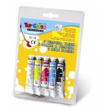 Tempera la tub Toy Color, 7.5 ml, 5 culori