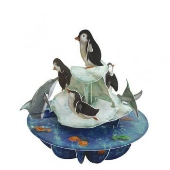 Felicitare 3D Pirouettes, pinguini