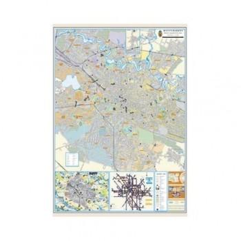 Harta Bucuresti, 100 x 140 cm, pe panou de pluta