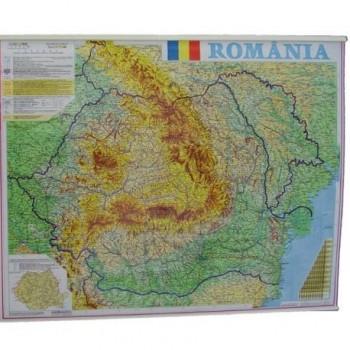 Harta Romania fizico-geografica si administrativa, 70 x 90 cm