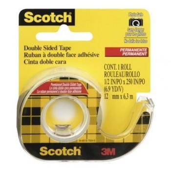 Banda dublu adeziva cu dispenser 3M Scotch, 12 mm x 6.3 m, transparent