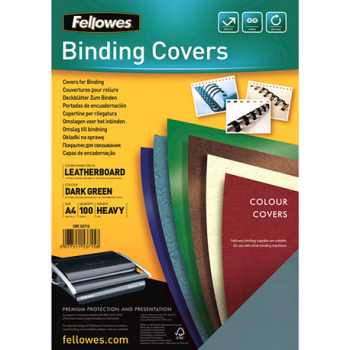 Coperti carton Fellowes A4, 250 gr, imitatie piele, verde, 100/top