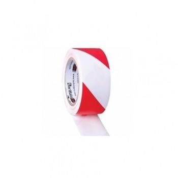 Banda adeziva Tarifold, pentru marcaj, 150 microni, 50 mm x 33 m, adeziv PVC, rosu/alb