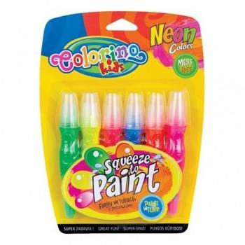 Tempera in tub cu perie, 6 culori neon