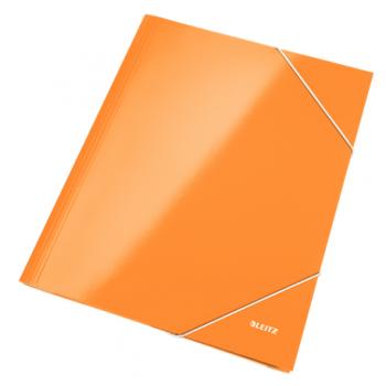 Mapa carton Leitz Wow, inchidere cu elastic, portocaliu metalizat