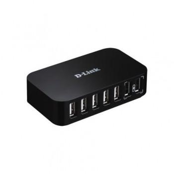 Hub USB D-Link, DUB-H7, 7 porturi, USB 2.0, adapter 5 V, negru