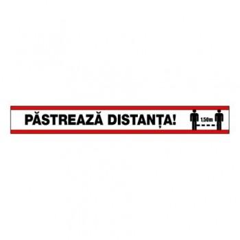 Set stickere autocolante pardoseala, STOP - pastreaza distanta, 48 x 6 cm