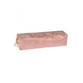 Penar cilindric sidefat cu fermoar, roz