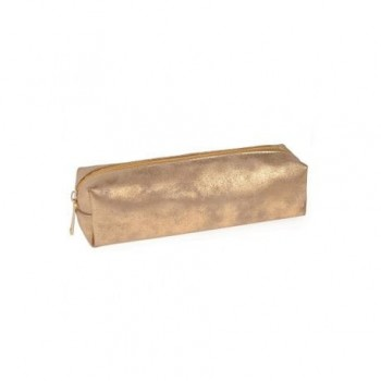 Penar cilindric sidefat cu fermoar, auriu