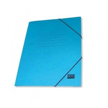 Mapa carton cretat Skag, A4, inchidere cu elastic, albastru