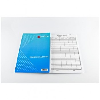 Registru inventar, A4, hartie offset, 100 file/carnet, coperta carton 300 g/mp
