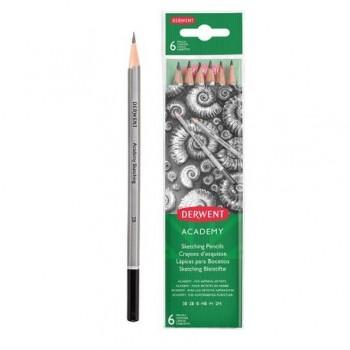 Set 6 creioane Grafit 2H-3B Derwent Academy, blister