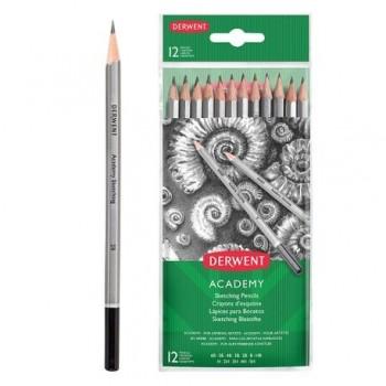 Set 12 creioane Grafit 5H-6B Derwent Academy, blister