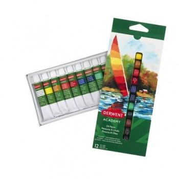 Set 12 culori ulei Derwent Academy, 12 ml