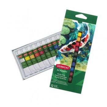 Set 12 culori acrilice Derwent Academy™, 12 ml
