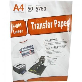 Hartie de transfer termic  YESION WHITE T-SHIRT A4, 195g/mp, 50 coli/pachet