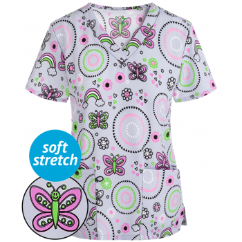 Bluza medicala 'Geo hearts butterfly' (GT501GHB)