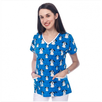Bluza medicala albastra cu catelusi
