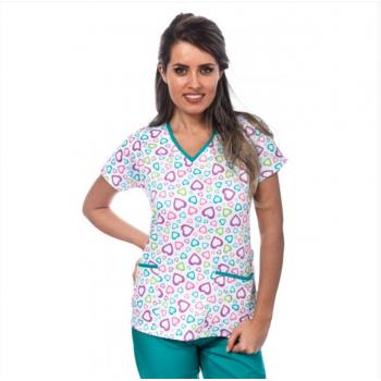 Bluza medicala alba cu inimioare colorate