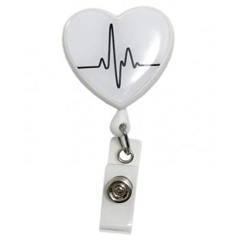 Ecuson retractabil 'White EKG Heart'
