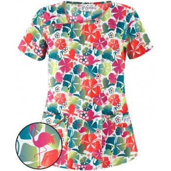 Bluza medicala 'Flamingo floral' (UA658FMG)